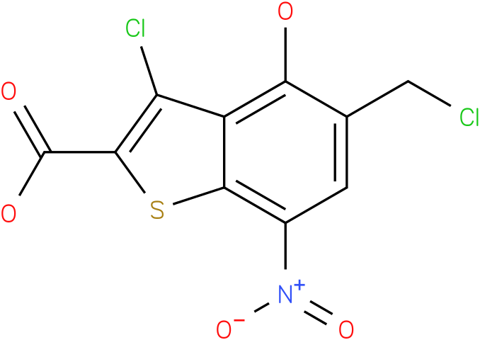 3-chloro-5-(chloromethyl)-4-hydroxy-7-nitrobenzo[b]thiophene-2-carboxylic acid